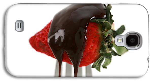 Michael Sweet Galaxy S4 Cases - Strawberry With Chocolate Sauce On A Fork Galaxy S4 Case by Michael Ledray