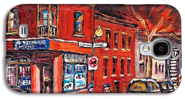 Montreal Memories Galaxy S4 Cases - Street Hockey Night Scene Painting 4 Saisons Depanneur Rue St Dominique And Pine Montreal Scene Art Galaxy S4 Case by Carole Spandau