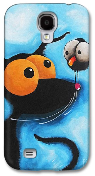 Crows Black Paintings Galaxy S4 Cases - Stressie Cat in Blue Galaxy S4 Case by Lucia Stewart