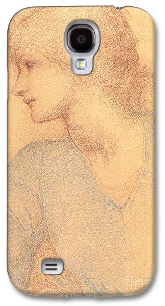 Head Drawings Galaxy S4 Cases - Study in Colored Chalk Galaxy S4 Case by Sir Edward Burne-Jones
