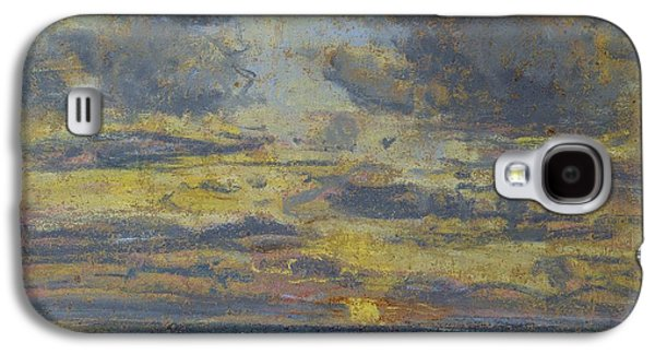 Light Pastels Galaxy S4 Cases - Study of the Sky with Setting Sun Galaxy S4 Case by Eugene Louis Boudin