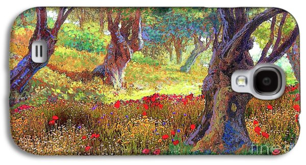 Tranquil Grove Of Poppies And Olive Trees Galaxy S4 Case by Jane Small