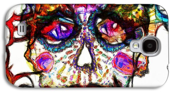 Colorful Abstract Galaxy S4 Cases - Sugar Skull Blues Galaxy S4 Case by Kiki Art