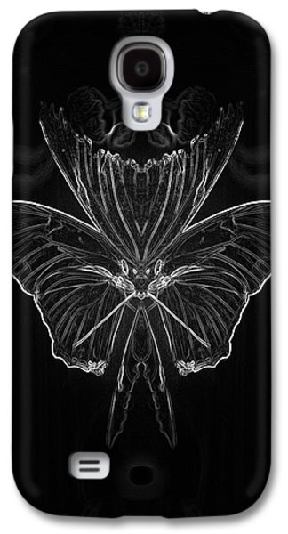 Abstract Digital Mixed Media Galaxy S4 Cases - Summer Floral With Butterfly Mirror Image BW Vertical Galaxy S4 Case by Thomas Woolworth