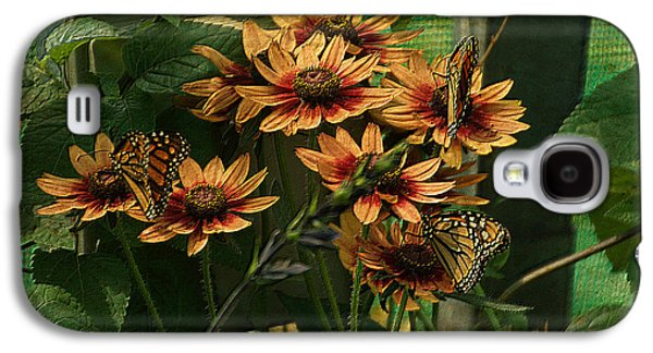 Abstract Digital Mixed Media Galaxy S4 Cases - Summer Floral With Monarch Butterflies PA 01 Galaxy S4 Case by Thomas Woolworth