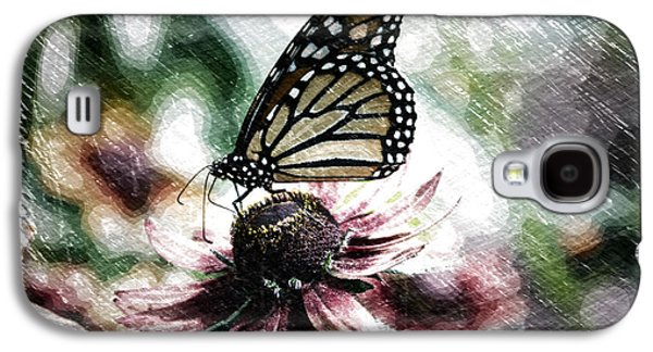 Abstract Digital Mixed Media Galaxy S4 Cases - Summer Floral With Monarch Butterfly PA 04 Galaxy S4 Case by Thomas Woolworth