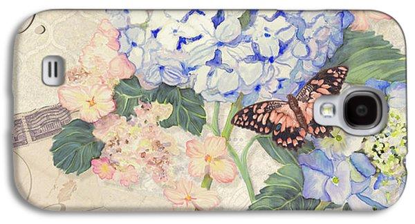 Summer Memories - Blue Hydrangea N Butterflies Faith Hope And Love Galaxy S4 Case by Audrey Jeanne Roberts