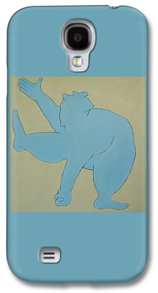 Abstract Forms Galaxy S4 Cases - Sumo Wrestler In Blue Galaxy S4 Case by Ben Gertsberg