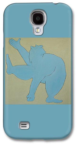 Surrealism Mixed Media Galaxy S4 Cases - Sumo Wrestler In Blue Galaxy S4 Case by Ben Gertsberg