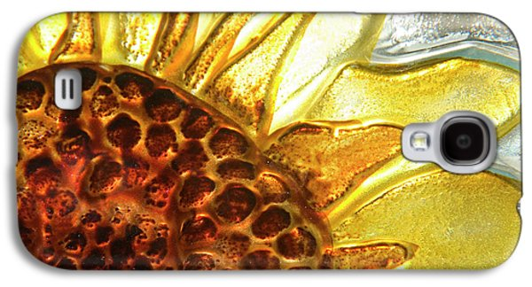 Glass Wall Galaxy S4 Cases - Sunburst Sunflower Galaxy S4 Case by Jerry McElroy