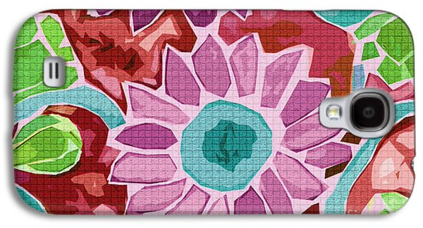 Digital Tapestries - Textiles Galaxy S4 Cases - Sunflower Red Galaxy S4 Case by FabricWorks Studio