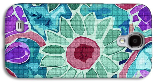 Digital Tapestries - Textiles Galaxy S4 Cases - Sunflower Teal Galaxy S4 Case by FabricWorks Studio
