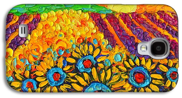 Sunflowers And Lavender At Sunrise Palette Knife Oil Painting By Ana Maria Edulescu Galaxy S4 Case by Ana Maria Edulescu