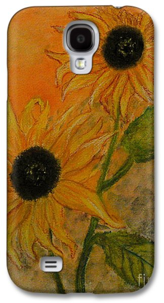 Stein Mixed Media Galaxy S4 Cases - Sunflowers Galaxy S4 Case by Carla Stein