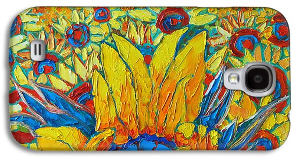 Sunset Abstract Galaxy S4 Cases - Sunflowers Field In Sunrise Light Galaxy S4 Case by Ana Maria Edulescu