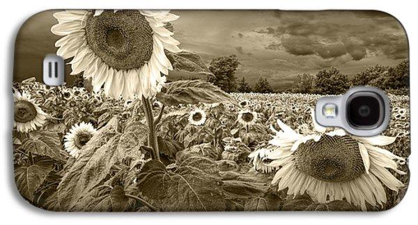 Selenium Galaxy S4 Cases - Sunflowers in Sepia Tone Galaxy S4 Case by Randall Nyhof