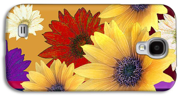 Abstract Digital Jewelry Galaxy S4 Cases - Sunflowers - Napkin Design Galaxy S4 Case by Skarlett Pancheva