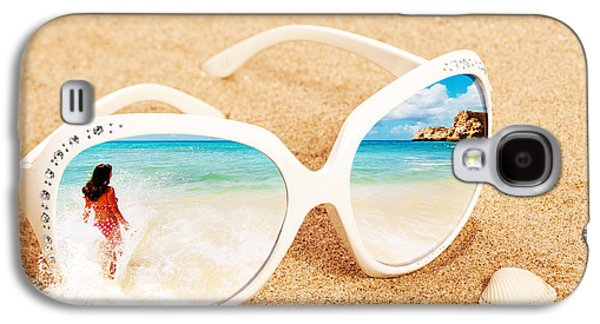 Concept Photographs Galaxy S4 Cases - Sunglasses In The Sand Galaxy S4 Case by Amanda And Christopher Elwell