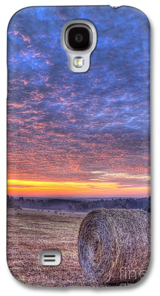 Pastureland Galaxy S4 Cases - Sunrise Hayfield And A View Walker Church Road Galaxy S4 Case by Reid Callaway