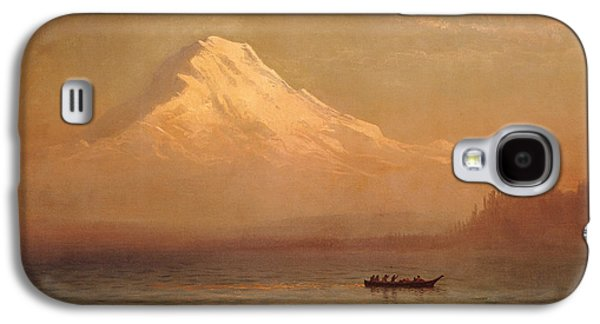 Snow Capped Galaxy S4 Cases - Sunrise on Mount Tacoma  Galaxy S4 Case by Albert Bierstadt