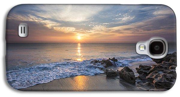 Sanddunes Galaxy S4 Cases - Sunrise Surf Galaxy S4 Case by Debra and Dave Vanderlaan
