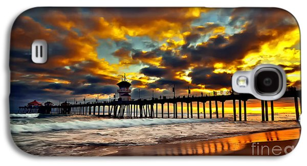 Landscapes Pyrography Galaxy S4 Cases - Sunset at Huntington Beach Pier Galaxy S4 Case by Peter Dang