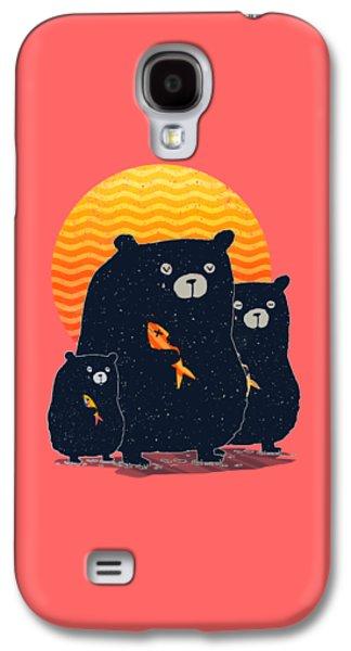 Bear Digital Galaxy S4 Cases - Sunset Bear Family Galaxy S4 Case by Illustratorial Pulse