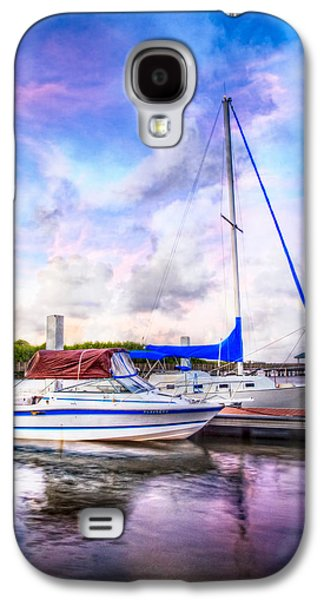 Sailboats At The Dock Galaxy S4 Cases - Sunset Sailboats Galaxy S4 Case by Debra and Dave Vanderlaan