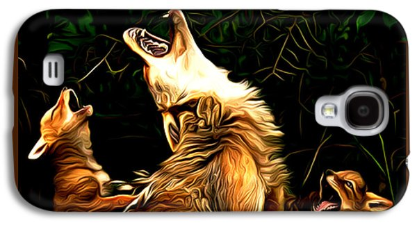 Puppies Digital Art Galaxy S4 Cases - Sunset Serenade Galaxy S4 Case by Larry Espinoza
