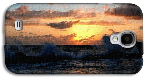 Abstract Digital Paintings Galaxy S4 Cases - Sunset through the Breakers H a Galaxy S4 Case by Gert J Rheeders