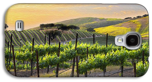Grape Vineyard Galaxy S4 Cases - Sunset Vineyard Galaxy S4 Case by Sharon Foster