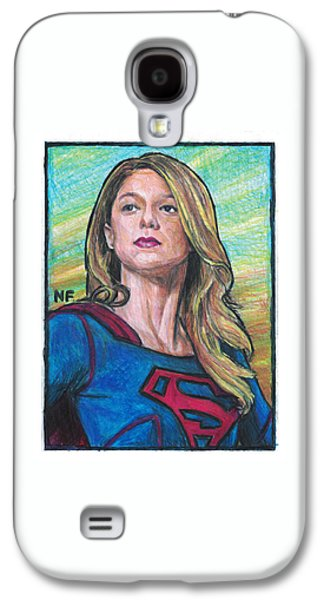 Supergirl Drawings Galaxy S4 Cases - Supergirl as portrayed by actress Melissa Benoit Galaxy S4 Case by Neil Feigeles