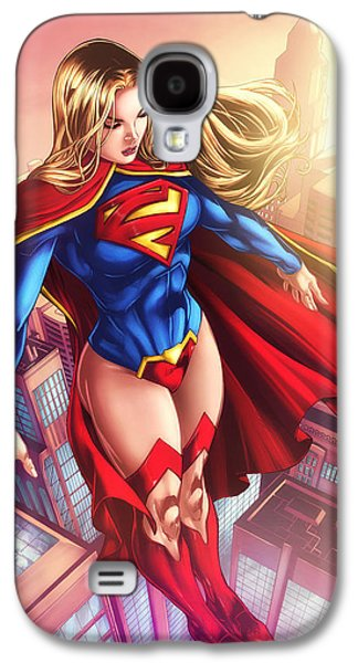 Supergirl Hovering Above The City Galaxy S4 Case by Jeremy Tisler