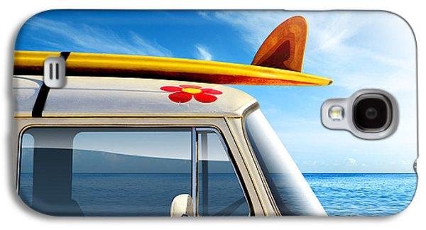 Vintage Car Photographs Galaxy S4 Cases - Surf Van Galaxy S4 Case by Carlos Caetano