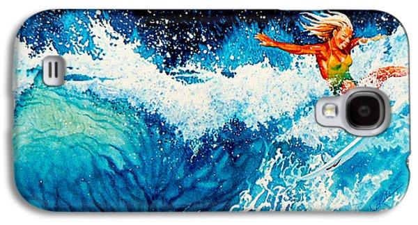 Sports Artist Galaxy S4 Cases - Surfer Girl Galaxy S4 Case by Hanne Lore Koehler