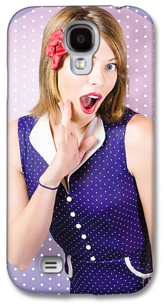 Surprised Pin-up Woman In Purple Polka Dot Dress Galaxy S4 Case by Jorgo Photography - Wall Art Gallery