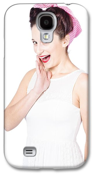 Surprised Young Pin-up Girl Whispering Secret Galaxy S4 Case by Jorgo Photography - Wall Art Gallery