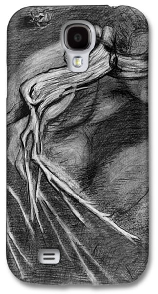 Shed Drawings Galaxy S4 Cases - Surreal drawing with figure cicada and branch Galaxy S4 Case by Adam Long