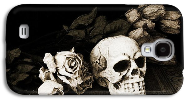 Spooky Galaxy S4 Cases - Surreal Gothic Dark Sepia Roses and Skull  Galaxy S4 Case by Kathy Fornal