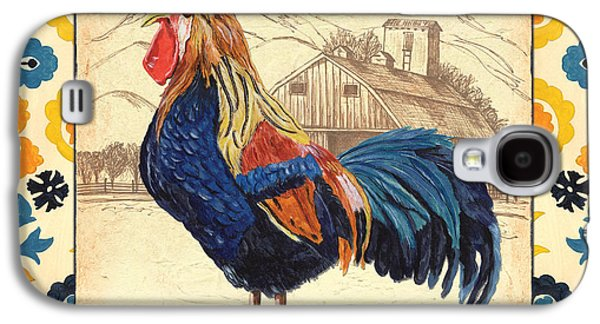 Crows Paintings Galaxy S4 Cases - Suzani Rooster 1 Galaxy S4 Case by Debbie DeWitt