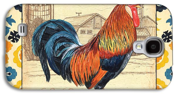 Crows Paintings Galaxy S4 Cases - Suzani Rooster 2 Galaxy S4 Case by Debbie DeWitt