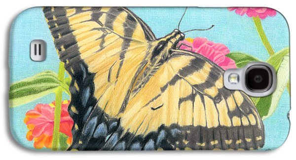 Cocoon Galaxy S4 Cases - Swallowtail Butterfly And Zinnias Galaxy S4 Case by Sarah Batalka