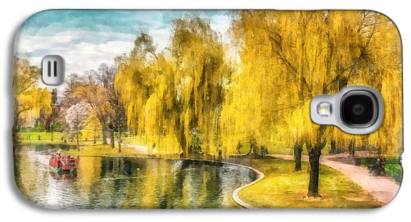 Abstract Landscape Photographs Galaxy S4 Cases - Swan Boats Boston Public Garden Galaxy S4 Case by Edward Fielding