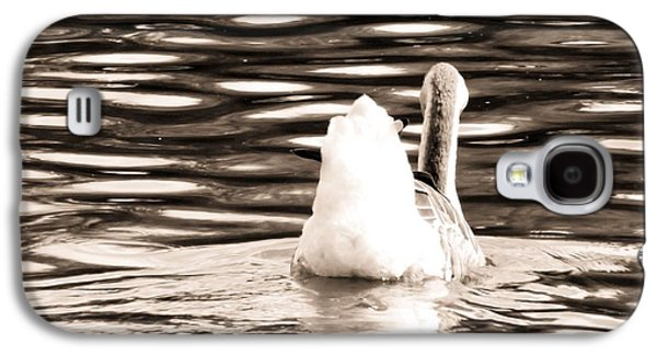 Nature Abstracts Galaxy S4 Cases - Swan Lake #2 Sepia Galaxy S4 Case by Robyn King