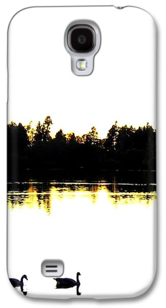 Swan Pair Galaxy S4 Cases - Swan Silhouette Galaxy S4 Case by Will Borden