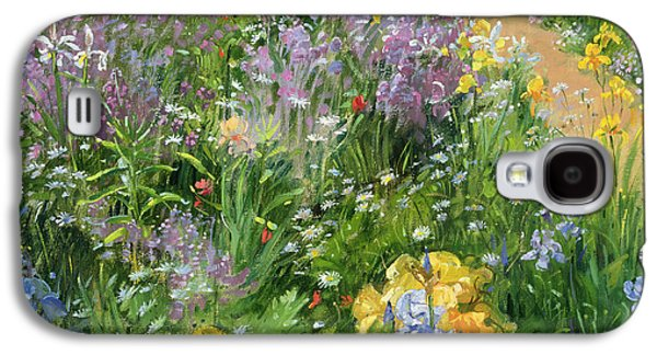 Sweet Rocket - Foxgloves And Irises Galaxy S4 Case by Timothy Easton