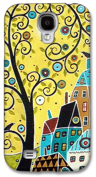 Abstract Landscape Galaxy S4 Cases - Swirl Tree Two BIrds And Houses Galaxy S4 Case by Karla Gerard