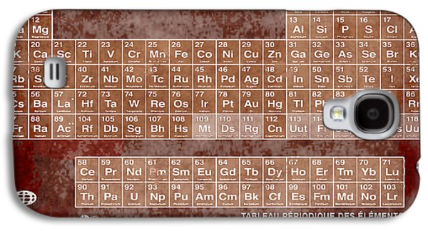 Tableau Periodiques Periodic Table Of The Elements Vintage Chart Sepia Red Tint Galaxy S4 Case by Tony Rubino