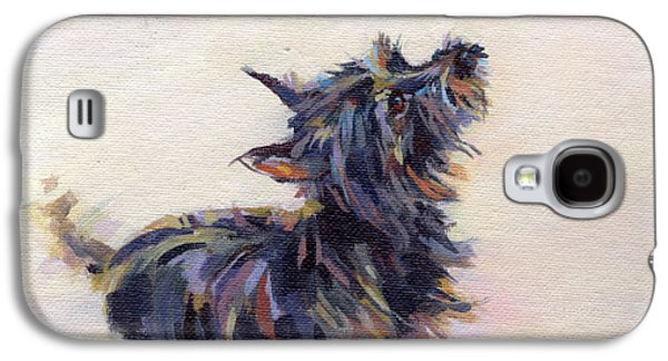 Black Dog Galaxy S4 Cases - Tail Wagging Fury Galaxy S4 Case by Kimberly Santini