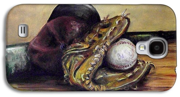 Baseball Glove Paintings Galaxy S4 Cases - Take Me Out to the Ball Game Galaxy S4 Case by Deborah Smith